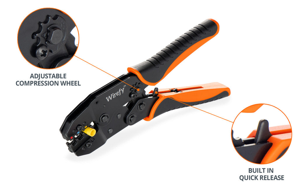 wirefy crimping tool for nylon connectors adjustable compression wheel quick release trigger