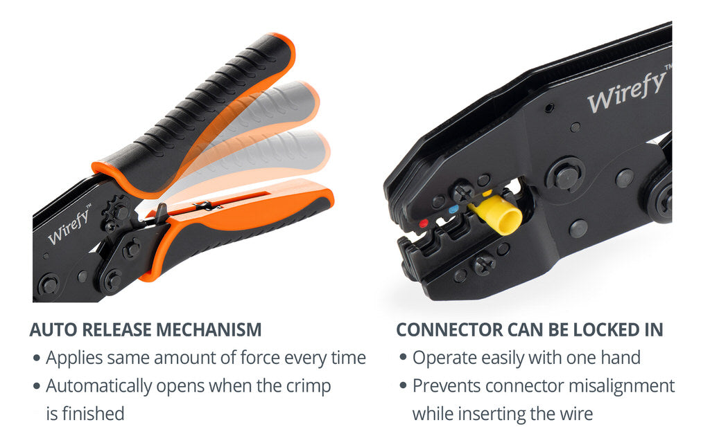 wirefy crimping tool designed for nylon connectors auto release mechanism connector can be locked in
