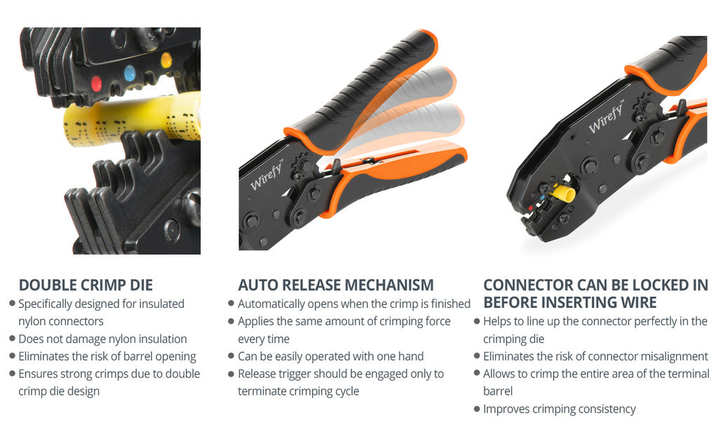 crimping tool for insulated nylon connectors double crimp die auto release
