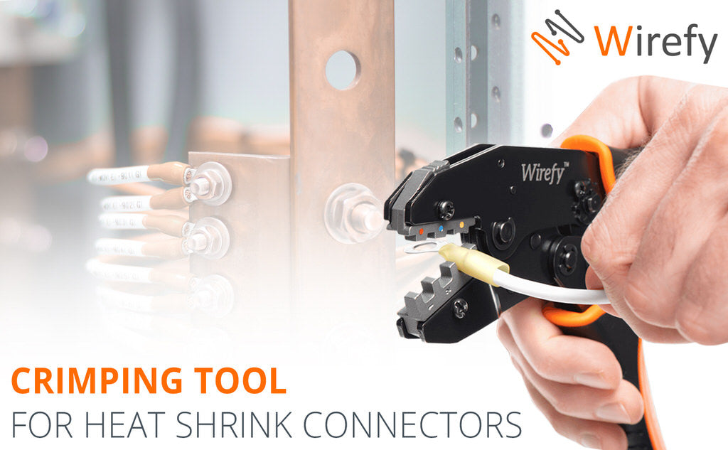 Crimping tool for heat shrink connectors wirefy