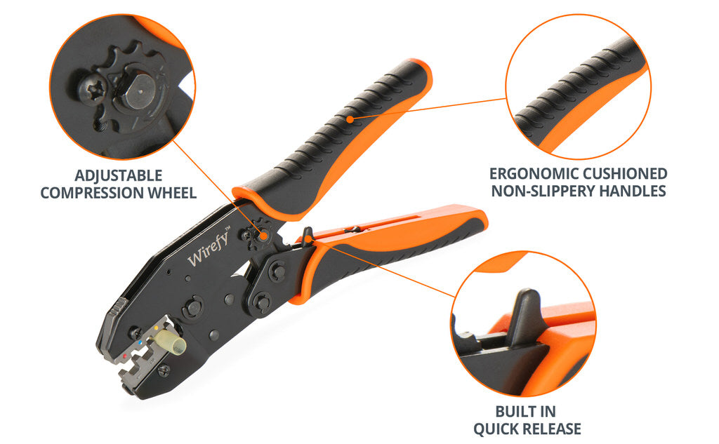 ratcheting crimping tool for heat shrink connectors specifications ergonomic handles compression wheel quick release