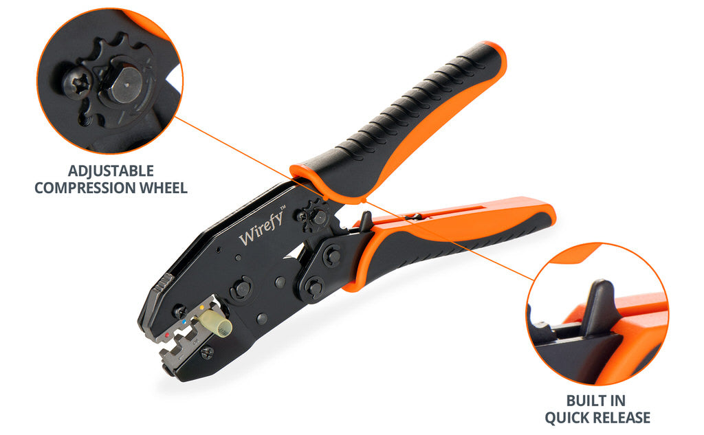 wirefy crimping tool for heat shrink connector quick release trigger adjustable compression wheel