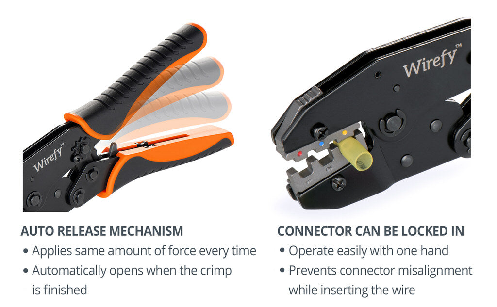 wirefy crimping tool for heat shrink connectors auto release mechanism connector can be locked in