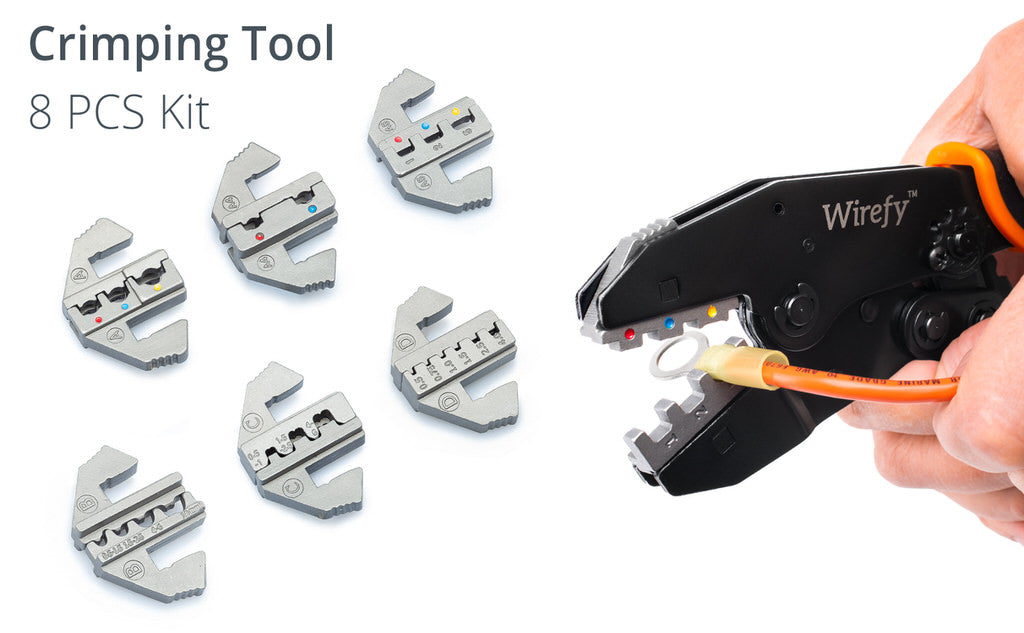 Wirefy crimping tool kit 8 pcs 6 dies included