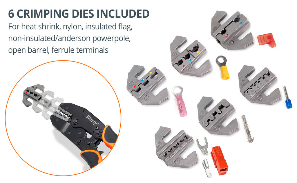 wirefy crimping tool set 8 PCS interchangeable crimping dies nylon heat shrink ferrule open barrel Anderson powerpole non insulated flag terminals
