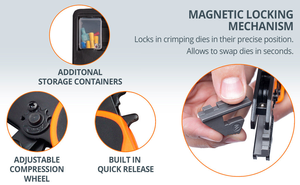 ratcheting crimping tool kit additional storage containers auto release magnetic locking mechanism