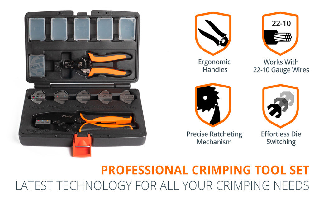 wirefy crimping tool set 8 PCS stripping tool crimping dies nylon heat shrink ferrule open barrel Anderson powerpole non insulated flag terminals
