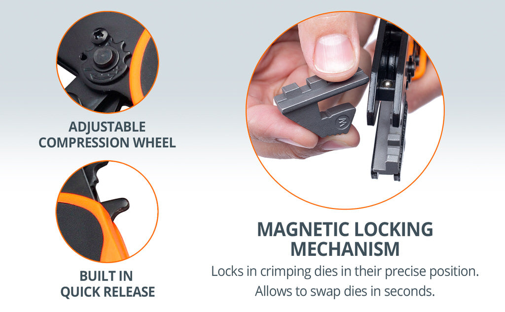 magnetic locking mechanism crimping tool features wirefy adjustable compression wheal quick release trigger