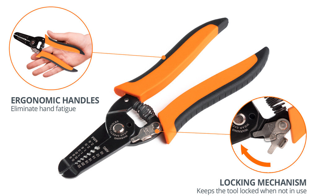 wirefy wire stripping tool ergonomic design handles locking mechanism