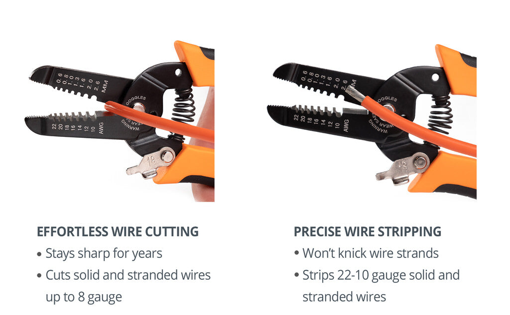 Wirefy precision wire stripping tool cutting
