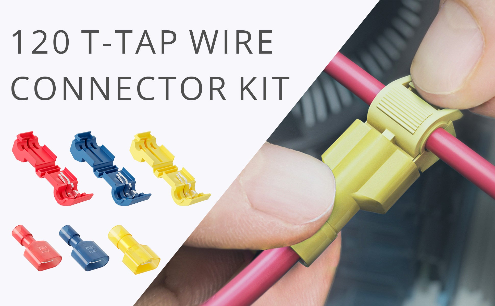 120 PCS Wirefy T Tap Electrical Wire Connectors Wiring Connector Kit on