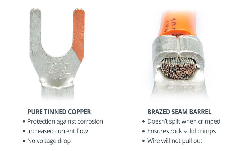 Wirefy heat shrink connectors pure tinned copper brazed seams strong crimp solid barrel fork