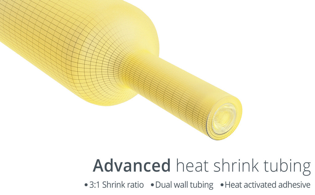 Marine grade heat shrink connectors advanced tubing 1:3 ratio hot melt activated adhesive dual wall ring