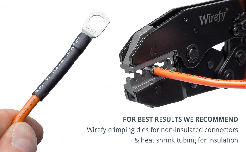 wirefy copper lugs insulation recommended heat shrink tubing