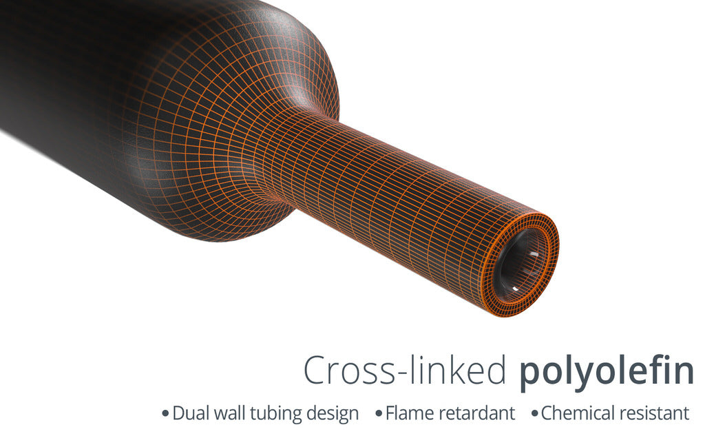 Wirefy heat shrink tubing polyolefin cross-linked 3:1 shrink ratio flame retardant chemical resistant waterproof