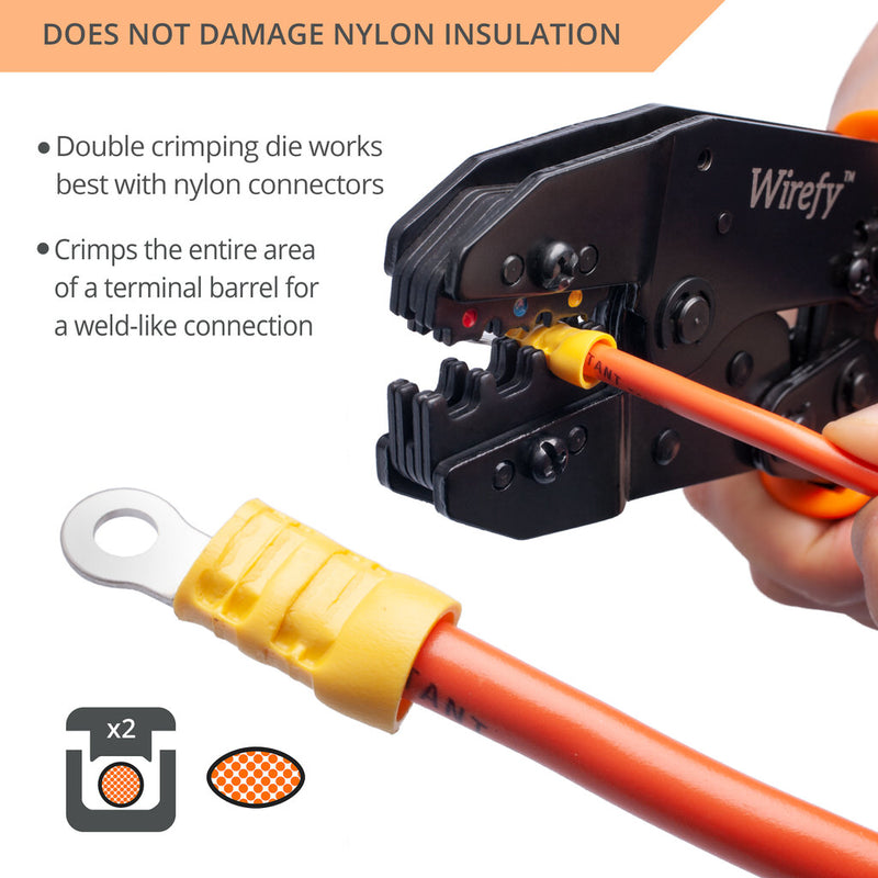 wirefy crimping tool designed for nylon connectors double crimp die uniform weld-like connection