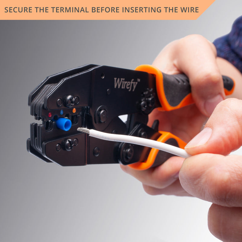 wirefy crimping tool designed for nylon connectors secure terminal before inserting the wire