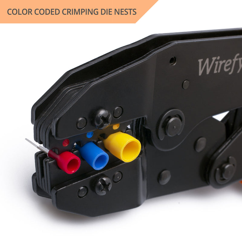 wirefy crimping tool designed for nylon connectors color coded crimping dies