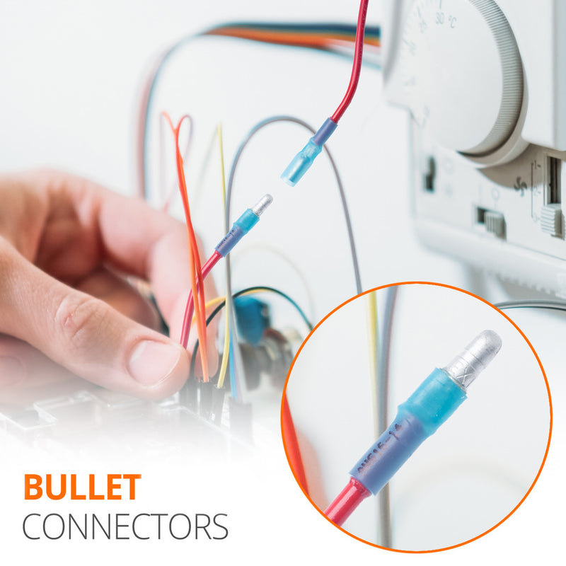 Wirefy bullet connectors kit male female blue red yellow 22-10 AWG box lifestyle use application