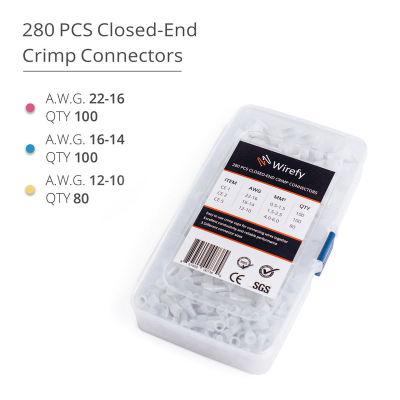 280 PCS Closed End Crimp Connectors - Wire End Caps - 22-10 Gauge