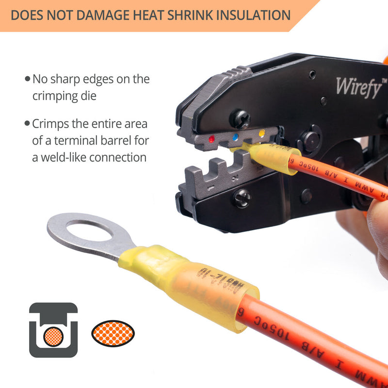 Wirefy crimping tool designed for heat shrink connectors no sharp edges entire area crimp weld-like connection