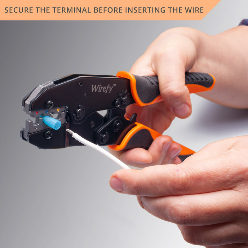 Wirefy crimping tool designed for heat shrink connectors secure the terminal before inserting the wire