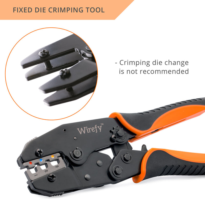 Wirefy crimping tool designed for heat shrink connectors fixed die tool