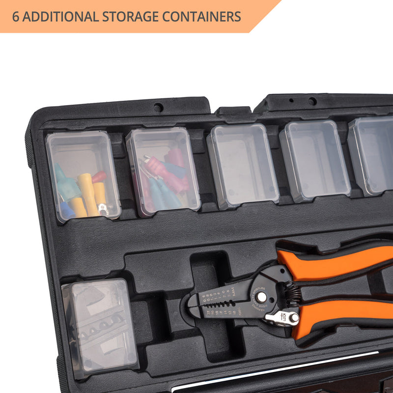 Wirefy 8 PCS crimping tool kit dies stripping tool box set storage boxes containers