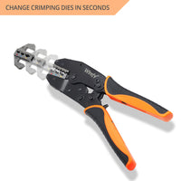 Wirefy crimping tool no dies for quick change crimping dies magnetic locking mechanism