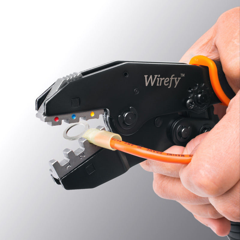 Wirefy crimping tool no dies for quick change crimping dies