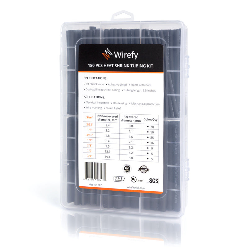 180 PCS wirefy heat shrink tubing kit black 7 sizes box