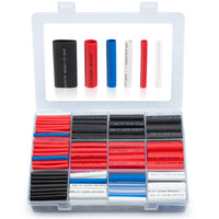 wirefy 275 PCS heat shrink tubing kit 5 colors variety of sizes boxed red blue black white clear