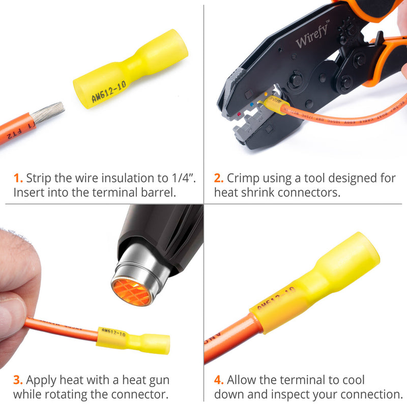 Wirefy heat shrink bullet connectors female yellow 12-10 AWG 90 PCS use how to application user guide crimping heat gun
