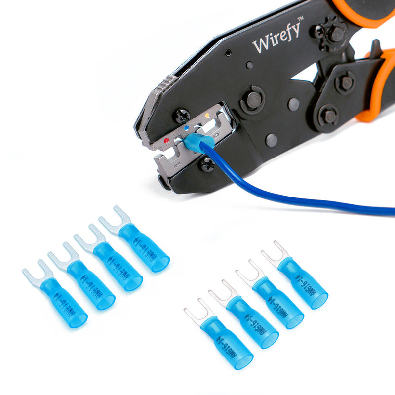 Heat shrink blue fork connectors 16-14 AWG manual how to use application steps heat gun crimping process