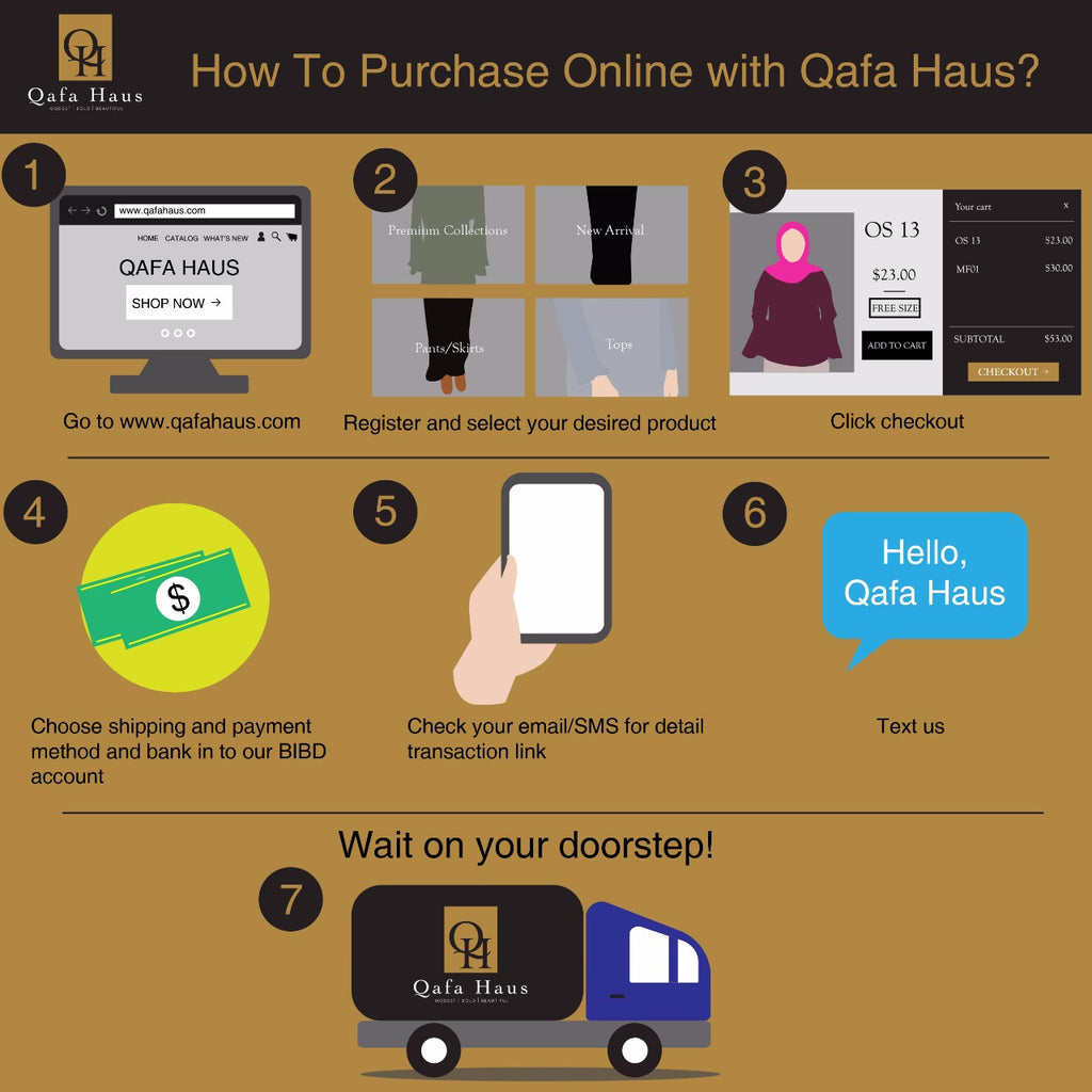 HOW TO PURCHASE ONLINE WITH QAFA HAUS?