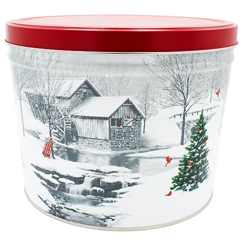 Snow Covered Mill 2 Gallon Tin
