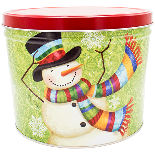 Scarf Snowman 2 Gallon Tin