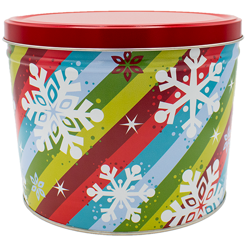 Stripes & Snowflakes 2 Gallon Tin