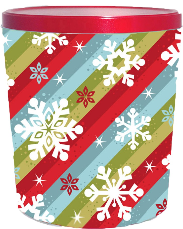Stripes & Snowflakes 3.5 Gallon Tin