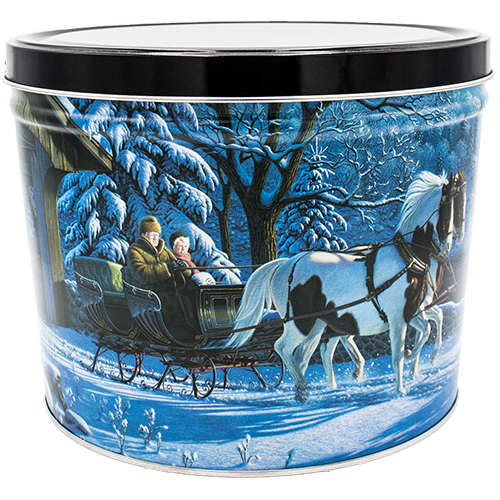 Winter Sleigh Ride 2 Gallon Tin