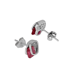 ER0619BJ440SP-AccessHer 925 sterling Silver square Studs with Ruby and CZ studs for women and girls