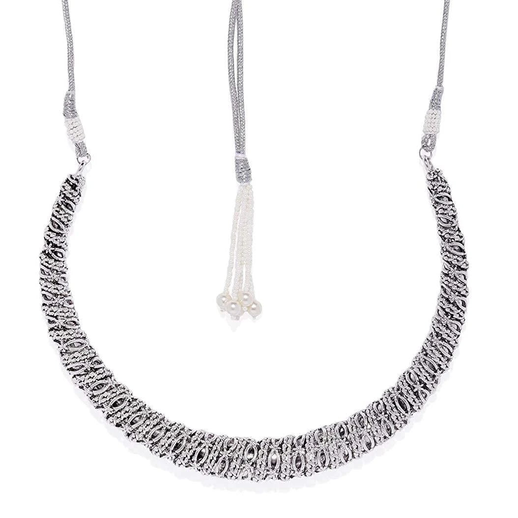 Oxidised Silver Lighweight Contemporary Hasli Necklace
