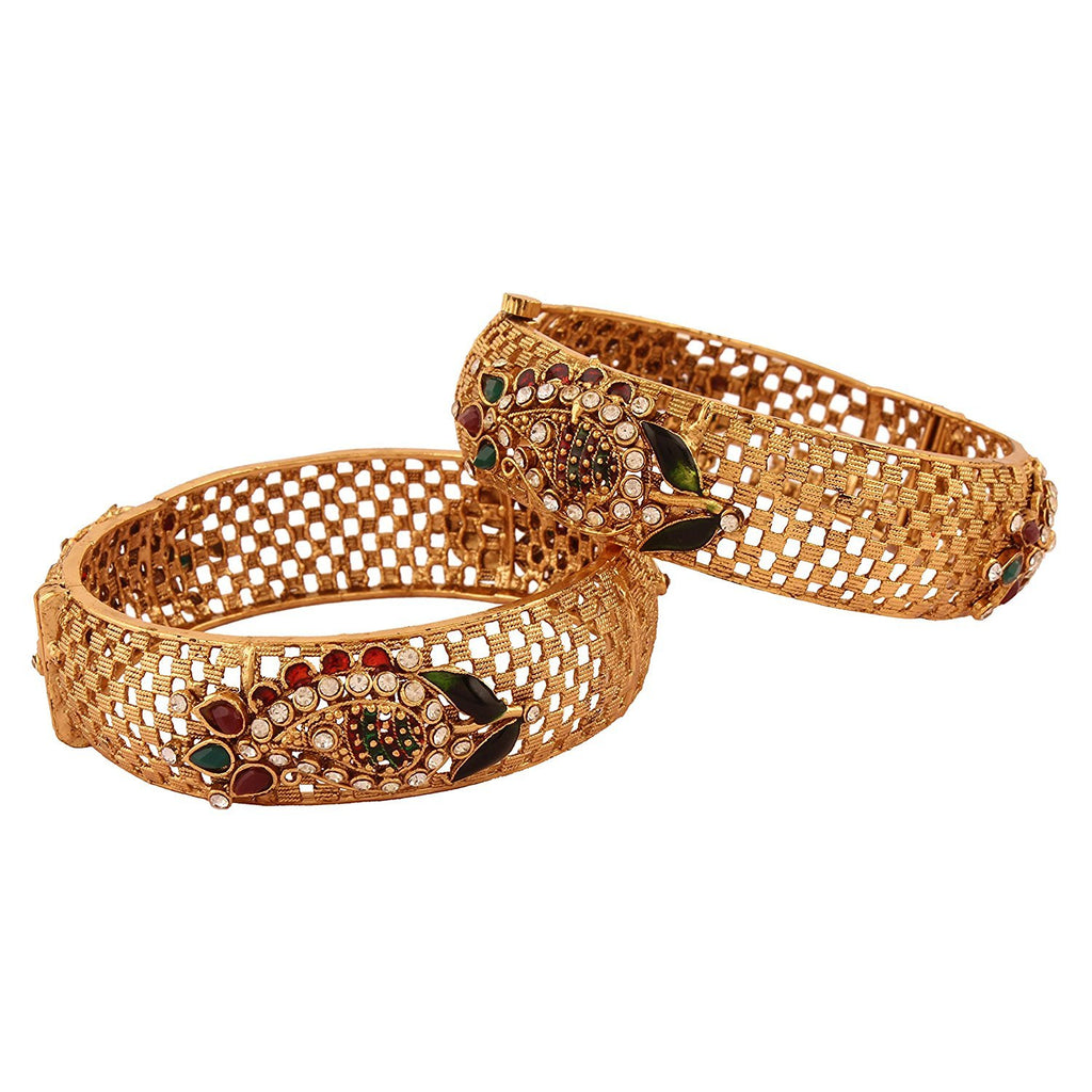 ACBRKRMD1250R -AccessHer Traditional Antique Kundan Curvy Screw Foldable Kada-Bracelets