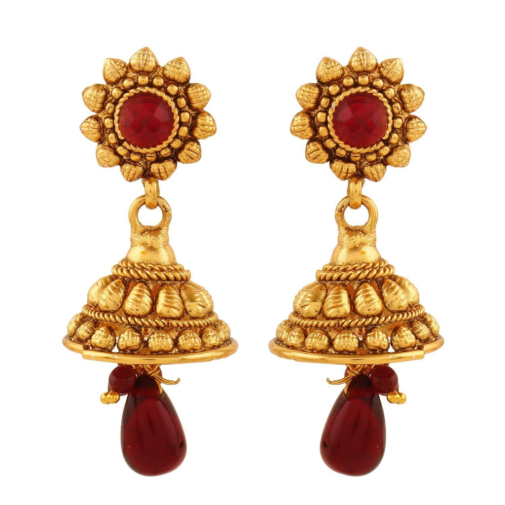 Antique Royal Red American Diamond Jhumki Earrings
