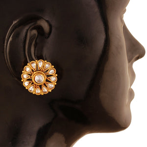 ACERJS412GW -AccessHer Antique Flower Shape American Diamond Stud Earring for Women.
