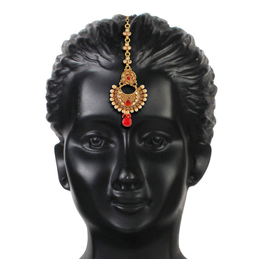 ACMTJM675RW-Accessher Gold Plated Antique Rajwadi Traditional Mang Tika for Women