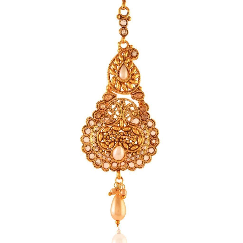 Abha antique gold maang tika