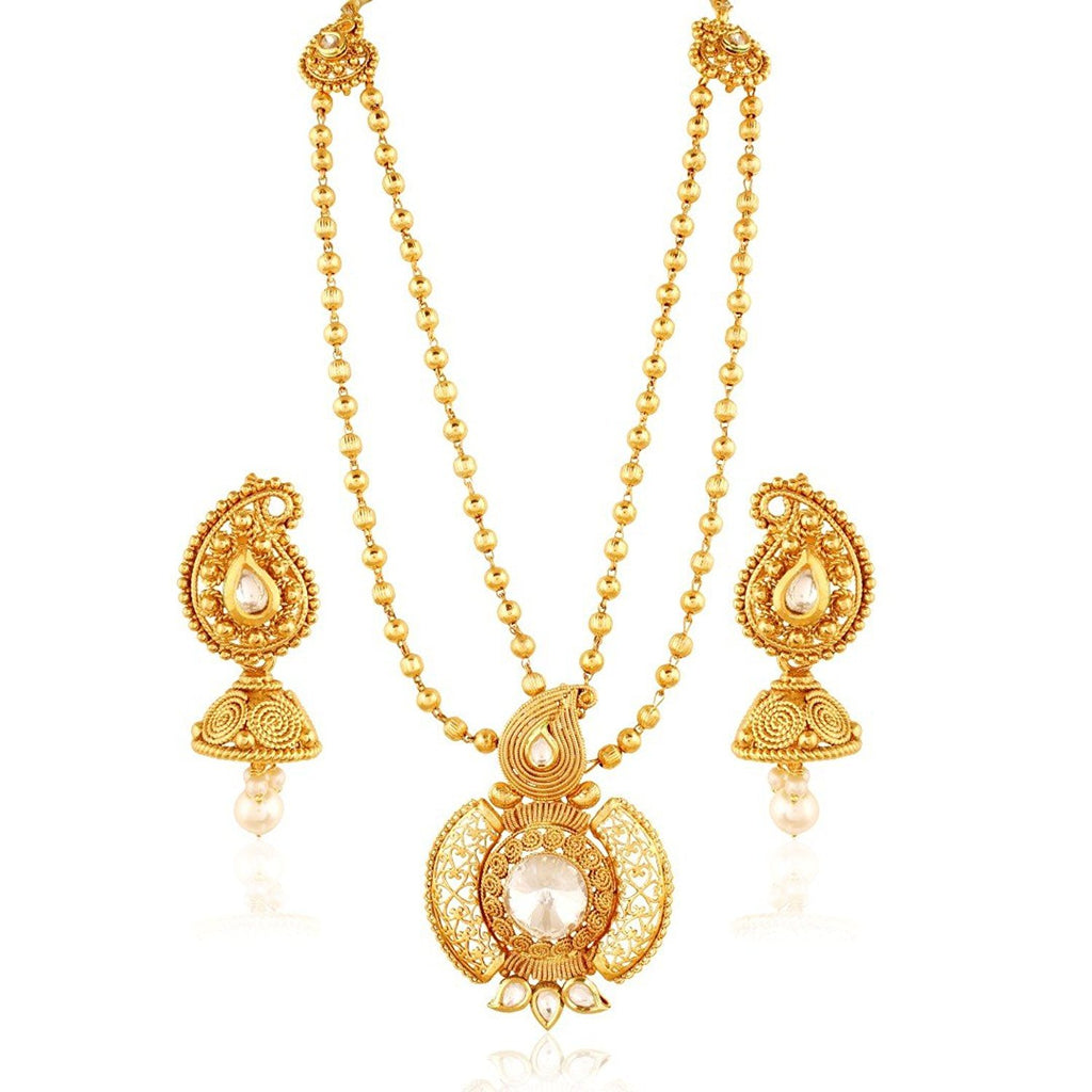 AGCPS4WG -AccessHer Two Layered Paisley Design Rajwadi Pendant Set