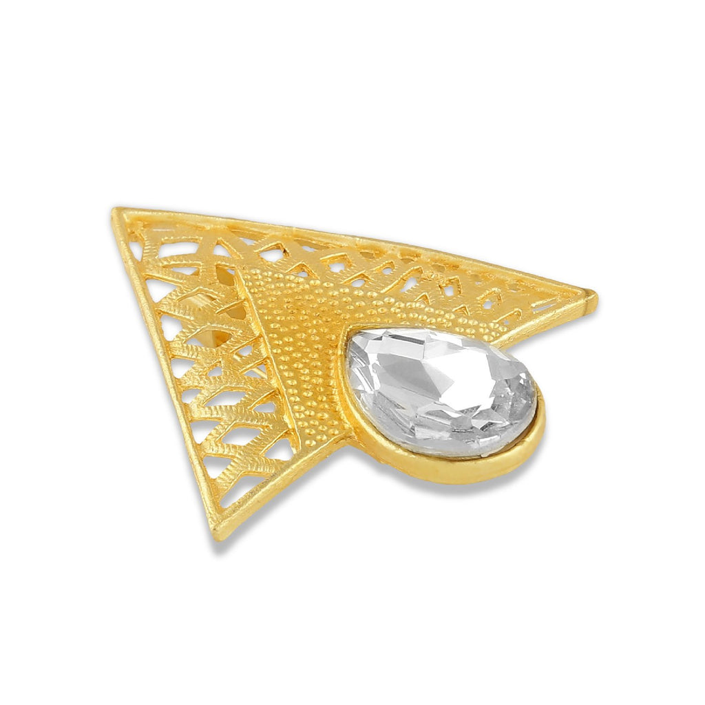 AccessHer American Diamond Golden Brass Unisex Kurta Brooch for Men and Women/BR0518SNY836G
