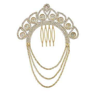 CHT0617GC4006GW -AccessHer Studded Hair Jewelery Single Choti Jadai Billai, jooda pin, Indian Hair pin, Hair Decoration,Hair Brooch with Hook Wedding Bridal Jewellery for Women.